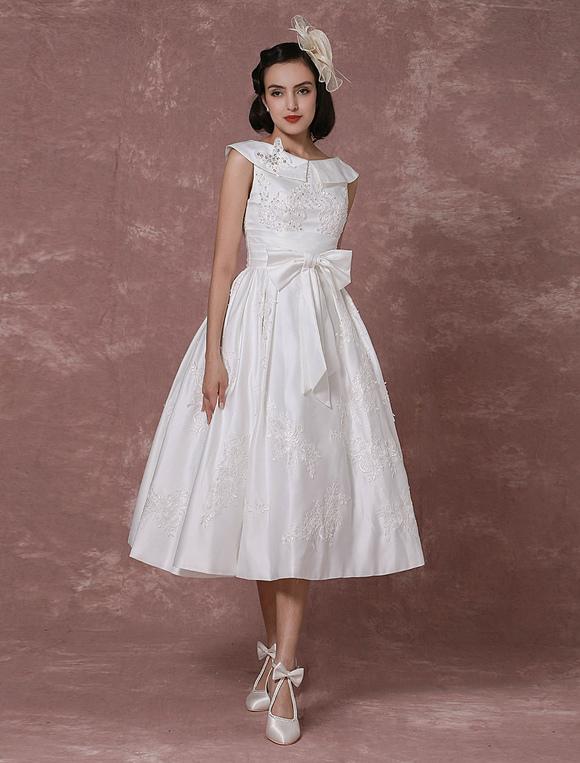 Vintage Hochzeitskleid Satin Kurzes Brautkleid Spitze Milanoo