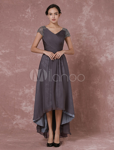 749272c7f20f ... Chiffon Maxi Evening Dress Grey High Low Beading Backless V Neck  Pleated Party Dress Wedding Guest ...