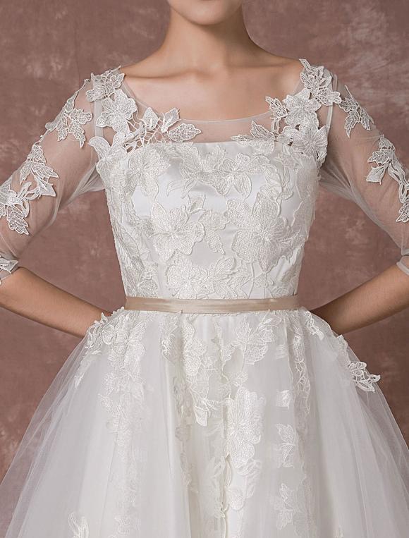Summer Wedding Dresses 2017 Vintage Short Bridal Gown Tulle Lace Applique Half Sleeves Tea