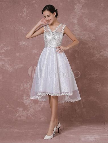 Kurze Prom Kleid hoch - niedrig Organza Spitze Applique ...