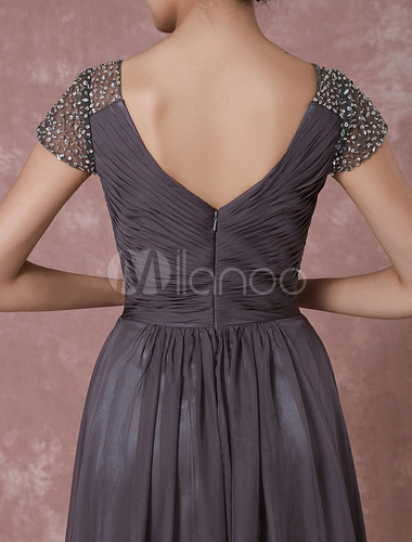 23a01eda9a30 ... Chiffon Maxi Evening Dress Grey High Low Beading Backless V Neck  Pleated Party Dress Wedding Guest. 12