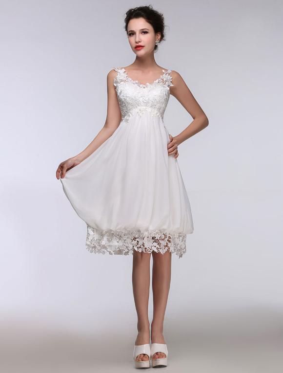 robe de mari e courte dentelle blanche en mousseline de