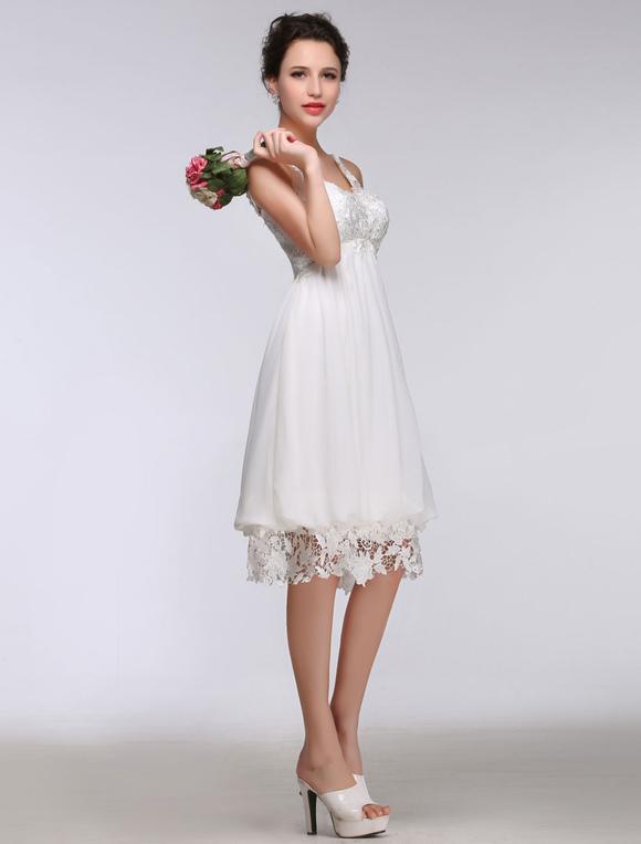 940b449ff337 ... Short Simple Wedding Dress White Lace Chiffon Sweetheart Summer Wedding  Dresses 2019 High Waist Knee Length ...