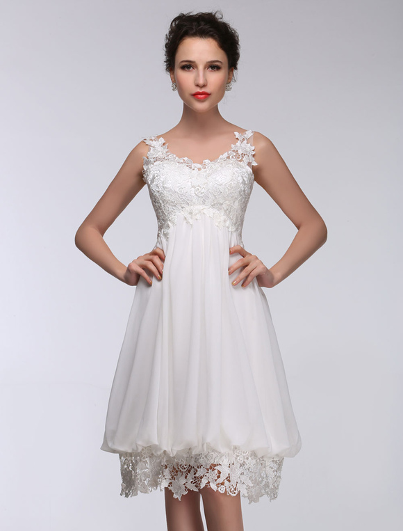 Short Wedding Dress White Lace Chiffon Sweetheart Summer Dresses 2018 High Waist Knee Length Bridal