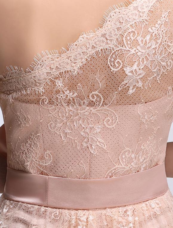 e4d363110ad1 ... Pink Bridesmaid Dress Lace One Shoulder Short Prom Dress Sleeveless A  Line Ribbon Bow Sash Knee ...