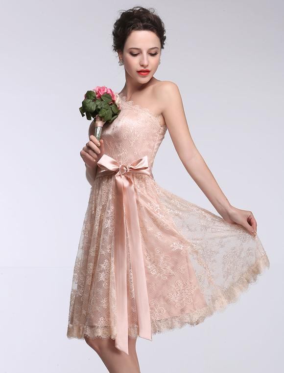 Rosa Brautjungfer Kleid Spitze einer Schulter kurze Prom Kleid ...