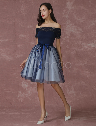 f615ac18f9 ... Blue Prom Dress 2019 Short Off The Shoulder Prom Dresses Tulle Dark  Navy Homecoming Dress Milanoo ...