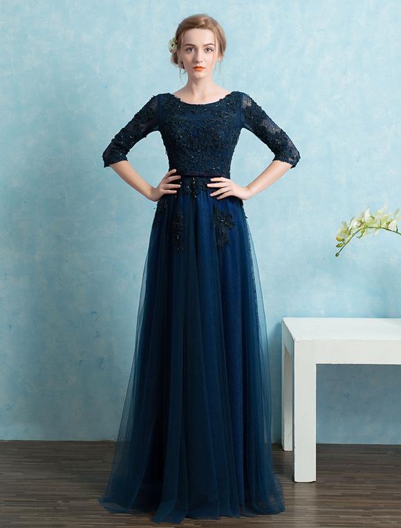 Vestidos de graduacion color azul marino
