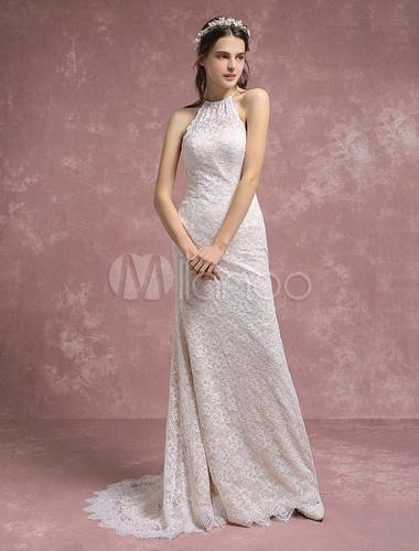 Summer wedding dresses 2018 lace boho mermaid bridal gown halter summer wedding dresses 2018 lace boho mermaid bridal gown halter bridal dress with court train junglespirit Image collections