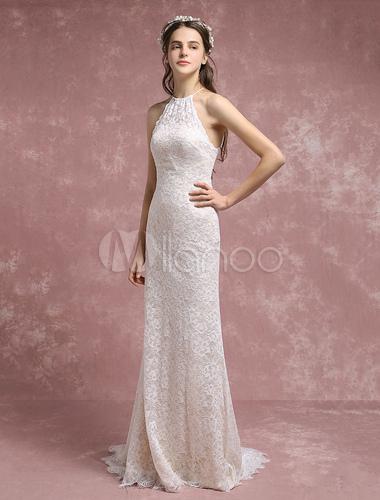 Summer Wedding Dresses 2018 Lace Boho Mermaid Bridal Gown Halter ...
