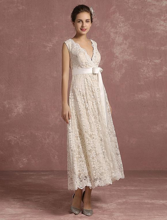 Sommer-Hochzeits-Kleider 2018 Spitze-V Ansatz-Sleeveless Brautkleid ...