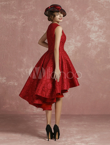 aa247c681a8 ... Red Prom Dresses 2019 Short Lace Cocktail Dress Burgundy Pleated A Line  Round Neck Sleeveless High ...