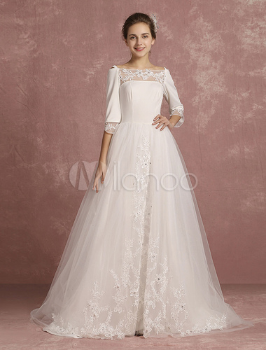 Lace Wedding Dress Tulle Bateau Beaded Bridal Gown Illusion Cold Shoulder A Line Half Sleeve Back