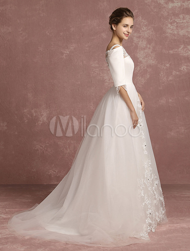 a48535d2da1f ... Lace Wedding Dress Tulle Bateau Beaded Bridal Gown Illusion Cold  Shoulder A Line Half Sleeve Back ...