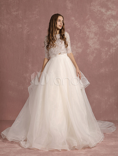 2 Piece Wedding Dress Lace Organza Backless Summer Dresses 2017 Half Sleeve A Line Tiered