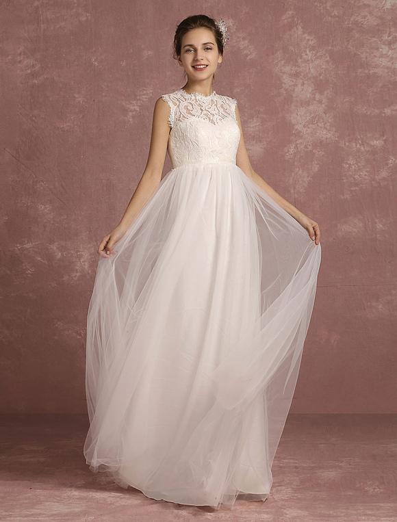 Summer Wedding Dresses 2018 Lace Empire Waist Bridal Gown Illusion ...