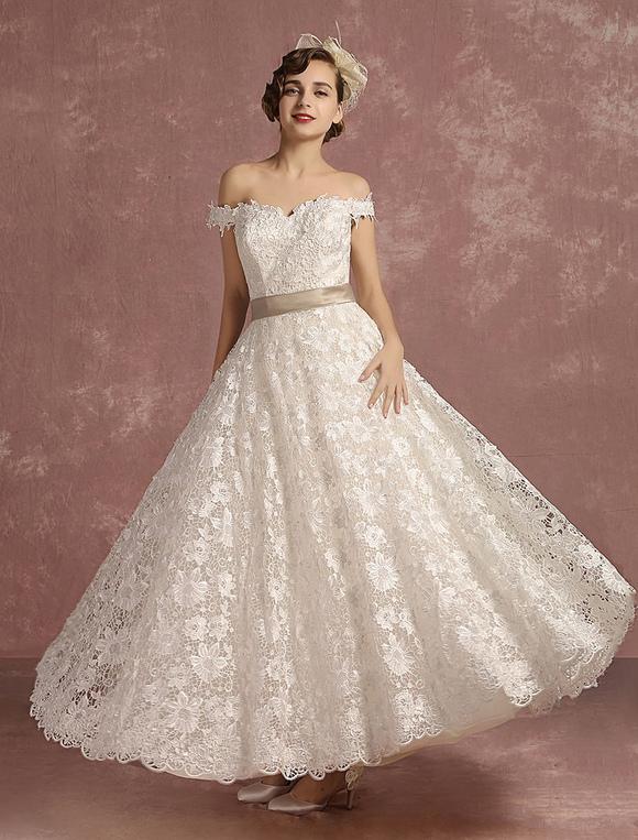 vestido de novia encaje catedral de línea a hasta el tobillo con