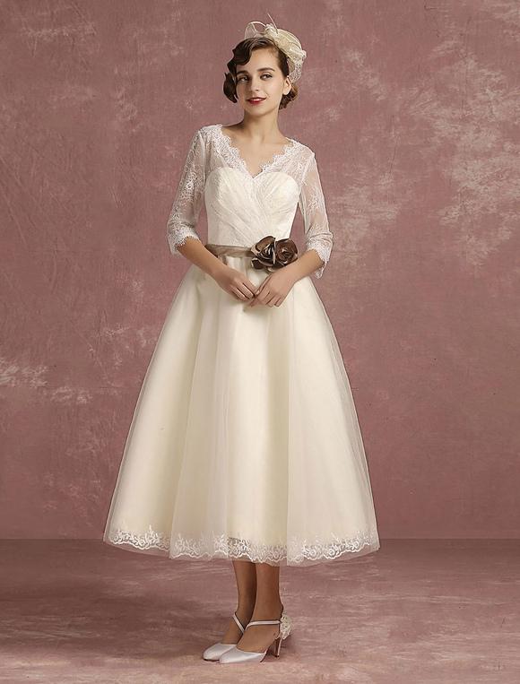 Vintage Hochzeit Kleid kurze Spitze Tüll Brautkleid Halbarm V Neck ...