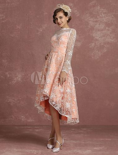Spitze Hochzeit Kleid Rosa Hoch Niedrig Vintage Brautkleid Illusion