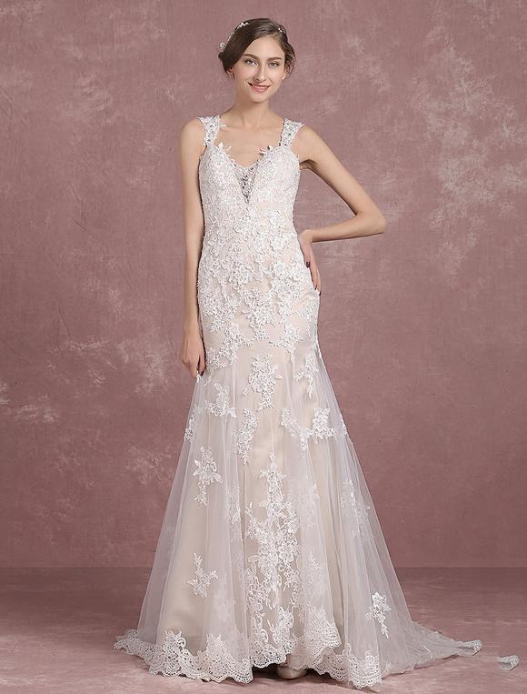 Vestidos de novia de verano 2018 Lace Champagne Straps Vestido de ...