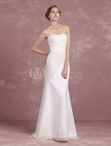 Summer Wedding Dresses 2018 Strapless Lace Mermaid Bridal Gown ...