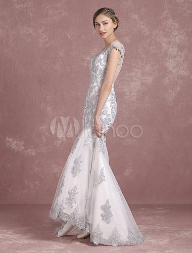 11308db86 ... Bodas de plata vestido Sirena Vestido de novia encaje apliques Vestido  de novia pura botón nuevo ...