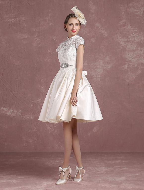 Short Wedding Dress Vintage Lace Bridal Gown Mandarin Collar Satin ...