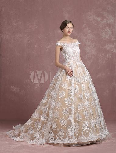 Lace Wedding Dress Champagne Bridal Gown Bateau Illusion Neckline Lace Up Short Sleeve Princess