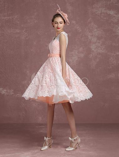 Blush Brautkleid Kurze Brautkleid Vintage Lace Illusion Zurück V ...