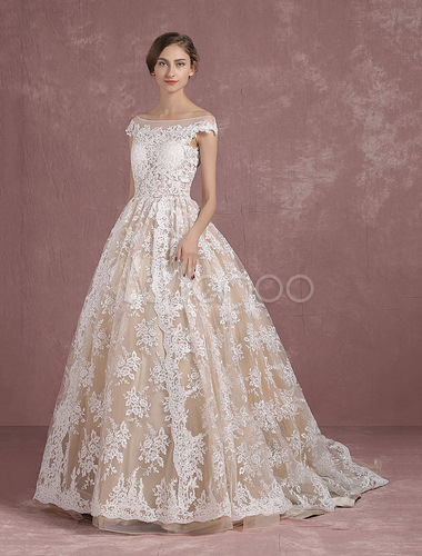 Lace wedding dress champagne bridal gown bateau illusion for Champagne lace short wedding dress