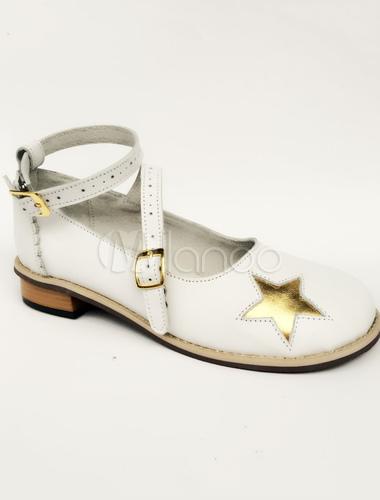 Zapatos de lolita de PU de puntera redonda con dibujo de estrellas blancos VIQjAYc5i