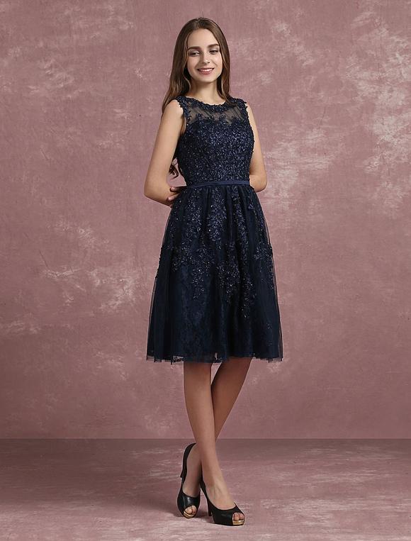 30dacd4f5 ... Vestido elegante de cóctel de color azul marino oscuro con escote  redondo sin mangas con faja ...