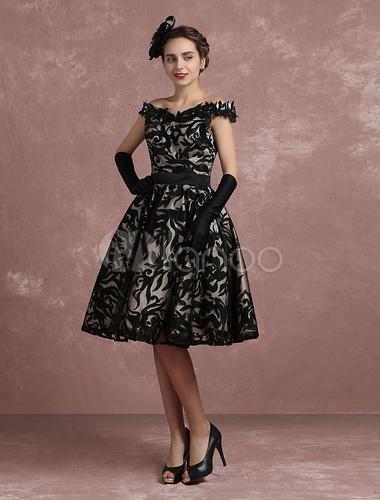 Vintage Cocktailkleid Spitze Sweetheart Anlass Kleid schwarz von der ...