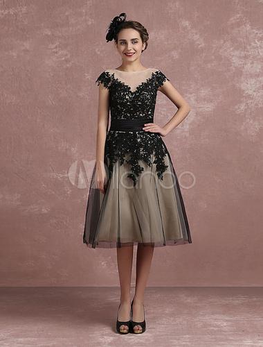 Vintage Cocktailkleid Illusion Spitze Applique Perlen Anlass Kleid ...