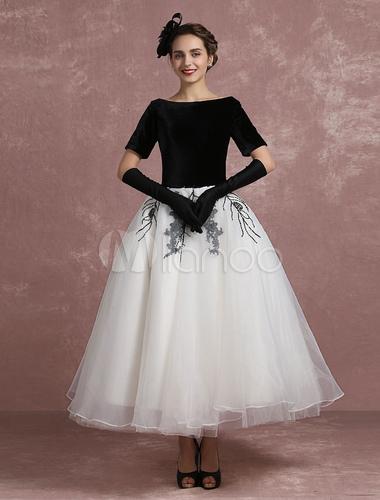 Vintage Cocktailkleid schwarz Applique Perlen Prom Dress samt Bateau ...