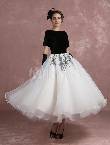 063e38081ebb ... Vintage Cocktail Dress Black Applique Beaded Prom Dress Velvet Bateau  Short Sleeve A Line Ankle Length ...