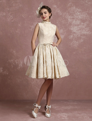 Champagner Hochzeit Kleid Vintage Stehkragen Brautkleid Kurze