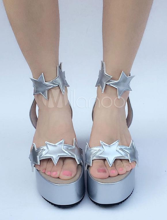 Zapatos de lolita de PU de puntera abierta con dibujo de estrellas plateados estilo street wear rGAKuea2