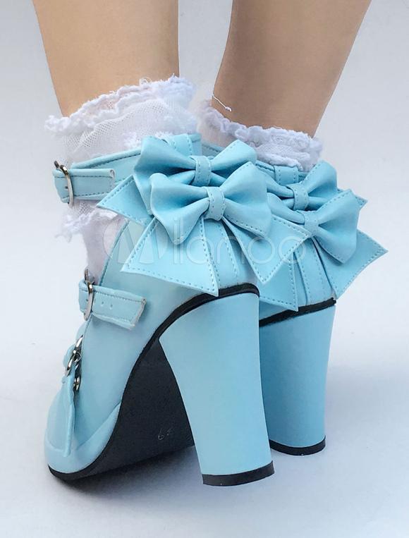 Zapatos de lolita de PU de puntera redonda con lazo de celeste claro estilo street wear 99f5sSY