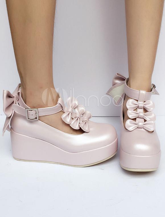 Zapatos de lolita de PU de puntera redonda con lazo estilo street wear b23NMhJ