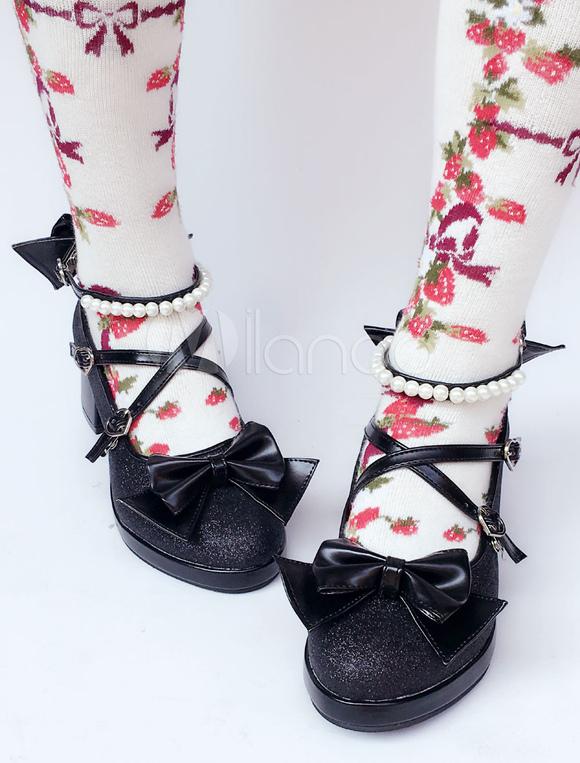 Zapatos de lolita de puntera redonda de PU con lazo negros estilo street wear rcpBMqrUs