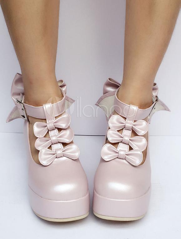 Zapatos de lolita de PU con lazo de puntera redonda de color rosado de perla estilo street wear r2dimWUu8d