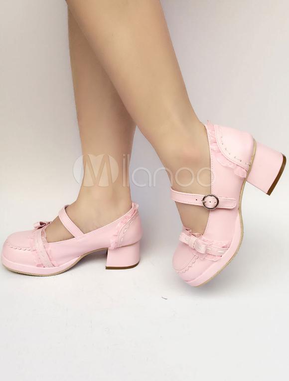 Zapatos de lolita de PU de puntera cuadrada Color liso Rosado ligeros estilo street wear Bwv5p
