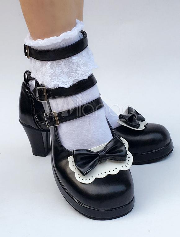 Zapatos de lolita de puntera redonda de PU con lazo negros estilo street wear 1Rh23nJ