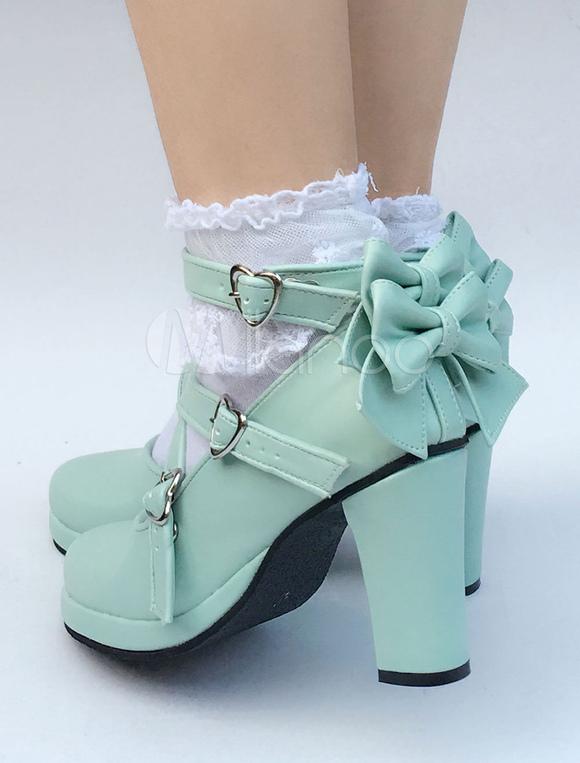 Zapatos de lolita de PU de puntera redonda con lazo de celeste claro estilo street wear zKufx