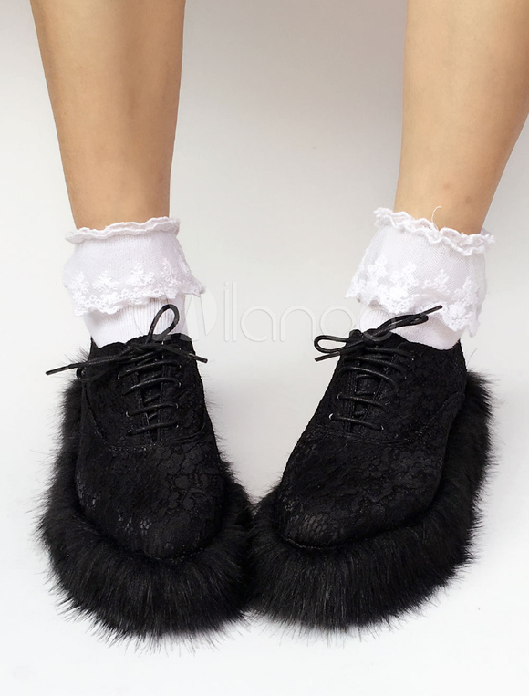 Zapatos de lolita de tela de puntera redonda adornado con encaje negros estilo street wear 8VWuFralL