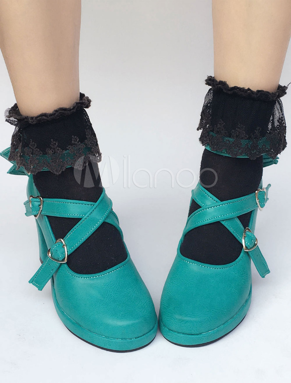 Scarpe Tacco Azzurre Zeppa Lolita Rotondo Pu Verdi Largo Da Menta qrFRnqZT
