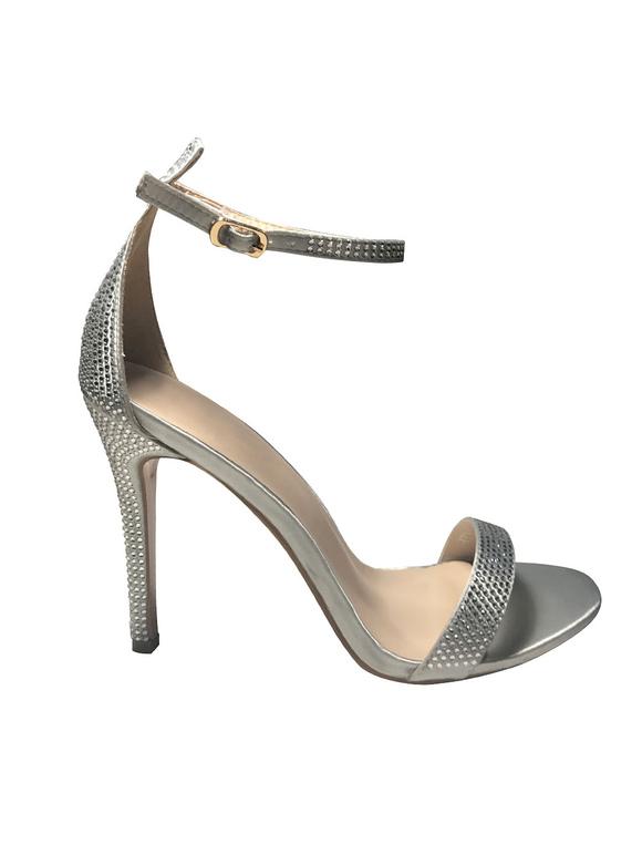 Silberne Hochzeitsschuhe Sandalen Mit Absatz Satin Party Schuhe Mit