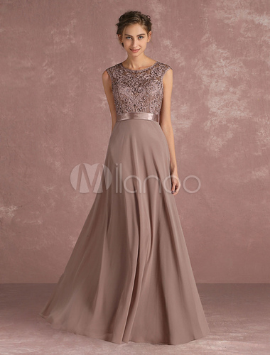 Chiffon mother 39 s dress lace beading formal evening dress for Taupe lace wedding dress