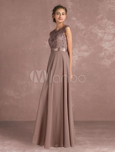 vestido para la madre de los novios 2019 de color gris pardo con
